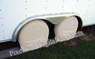 "2 TIRE WHEEL COVERS Camper CAR TRAILER TRUCK RV 31, 32, 33"" diameter pair"