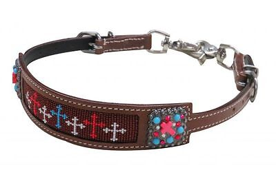 Showman USA Cross Beaded Inlay Concho Leather Wither Strap Barrel Racing 2 Snaps