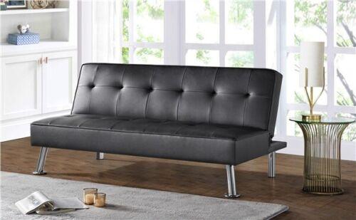 Futon Sofa Couch Modern Faux Leather Sofa Bed Convertible Sofa Sleeper Fold Sofa