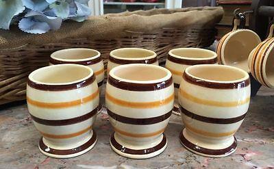 Christmas gift Vintage French Breton HB Quimper Set of Six Goblets - a515