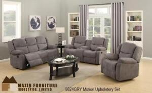 Grey Fabric Recliner set Featuring Motion Upholstery and Cupholders MA10 9824GRY-3 (BD-1367)
