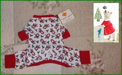 Ethical Fashion Pet Lookin Good Candy Cane Long John Christmas Pajamas XS M L Ethical Pet Fashion