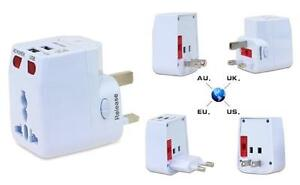 All-in-One Universal Travel Adaptor with 2 USB Ports - White