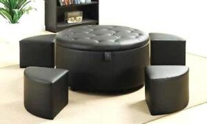 BRAND NEW! STORAGE OTTOMAN WITH 5 SETS