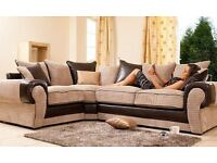 TANGENT LARGE OR SMALL JUMBO FABRIC CORNER SOFA SETTEE IN BLACK GREY or BROWN BEIGE COLOR