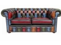Chesterfield Patchwork Antique 2 Seater Settee Leather Sofa