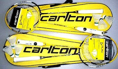 2 x NEW CARLTON 2 PLAYER BADMINTON SET 4 RACKETS & 6 SHUTTLECOCKS & 2 CARRY BAGS