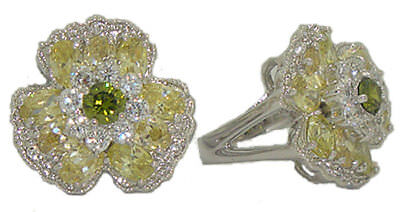 (ring white gold plated swarovski crystal peridot green flower pave NWT 5 6 9 10)