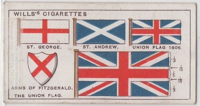 Flag Of England Evolution and History 95+ Y/O Trade Ad Card