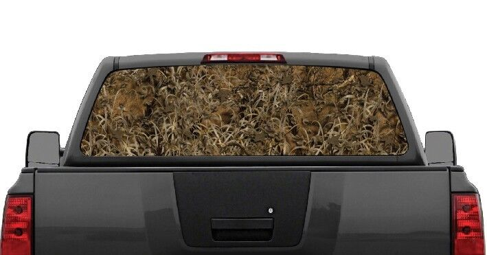 Grassland Camo Truck SUV Rear Window Graphic Decal Perforated Vinyl Wrap