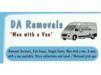 DA Removals, man with van service from £10, local and national pick ups, store collections