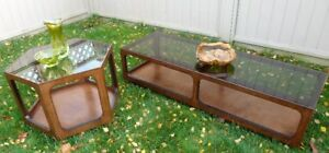 1 coffee table with 1 side table, dark wood with glass