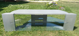 TV stand - Hitachi- Grey with glass shelves AND FREE TV!!