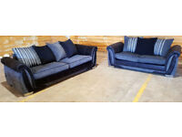 4 & 2 Seater sofa grey/black. Can deliver