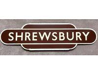 Enamel Shrewsbury Railway Totem