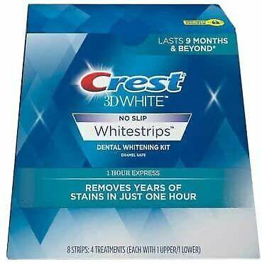 Crest 3D White No Slip Whitestrips Dental Whitening Kit 1 Hour Express, 8 Strips