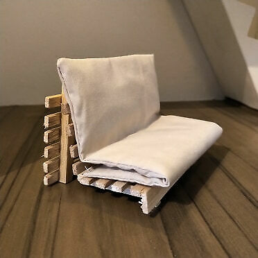 1/12 scale doll house size Scandinavian IKEA design grankulla futon sofa bed
