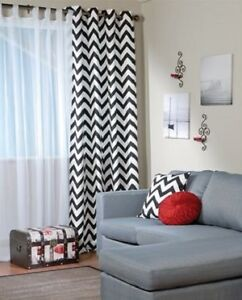Striped 2-Curtain Panels & 3-Accent Pillows