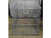 "LARGE SAVIC SILVER GALVANISED STEEL PET / DOG CAGE (L. 42"" x W. 28"" x H. 32"")"
