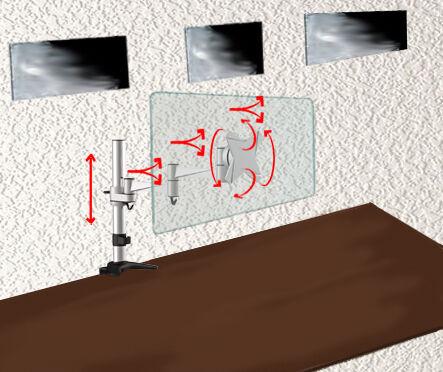 Bildschirm flexibel am Tisch befestigen, um Wandbohrungen zu vermeiden. Hier die TS3211