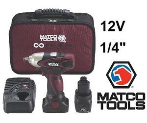 """USED MATCO IMPACT WRENCH KIT 12V 1/4"""" - WITH BATTERY CHARGER  CARRYING BAG 98827867"""