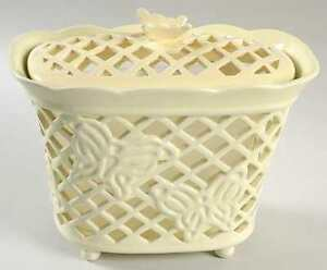 Princess House Ceramic Holder & Lid (Butterfly Trellis)