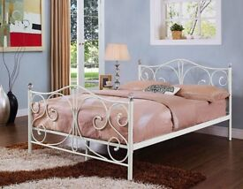 Double White Metal Bed Frame With Crystal Finials - Optional Mattress