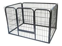 BUNNY BUSINESS Heavy Duty 6 Panel Puppy Play Pen/ Rabbit Enclosure, Medium, Gunmetal Grey