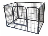 Heavy Duty Puppy Play Pen/ Rabbit Enclosure, Large, Gunmetal Grey