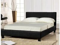 FAUX LEATHER DOUBLE BED AND MATTRESS