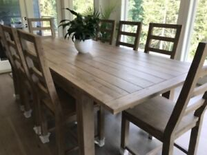 Large Rustic Reclaim Solid wood Extending Table 4 chairs,& bench
