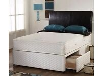 SMALL DOUBLE DIVAN BED (4FT BED)- DIVAN BED AND MATTRESS-HEADBOARD-STORAGE-same Day Delivery