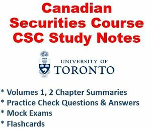 CSC Canadian Securities Course Complete Volume 1 & 2 Study Kit