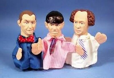 Vtg Three Stooges FINGERPUPPETS 1991 Hamilton mint LARRY MOE & CURLY