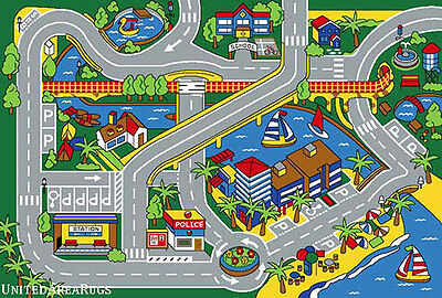5x7 Area Rug Play Harbor Road Driving Around  Port  Kids City Fun Time  Newport