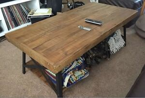 Coffee Table Reclaim Style Wood Rustic Solid Metal Frame Living Room Farmhouse