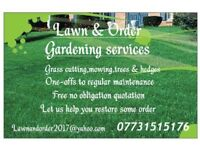 Gardening services, grass cutting, mowing, hedges etc