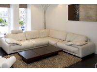 Leather Corner Sofa - Large - VGC