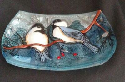 Chickadee Soap Dish Bird Fused Art Glass Ecuador WFTO Fair Trade Art Glass Soap Dish