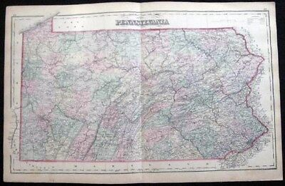 1882 ORIGINAL DOUBLE-PAGE MAP PENNSYLVANIA HAND COLORED