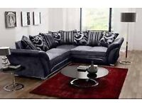 NEW FARROW CHANILLE CORNER SOFA , 3+2 SEATER SOFA GREY AND BLACK & BEIGE AND BROWN £200 TODAY ONLY