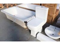 NEW FULL BATHROOM SUITE BATH TUB + BASIN + CLOSE COUPLED TOILET WC PAN CISTERN + SOFT CLOSE