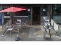 Outdoor Cafe Barriers Banner for Restaurants with 6 posts and 8 bars advertisement windbreak