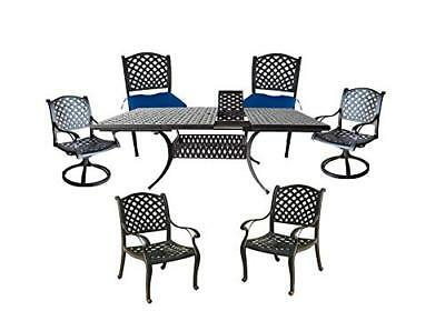 Outdoor dining set 7 piece aluminum expandable table swivel rockers arm chairs ()