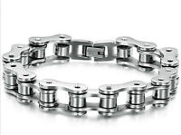 Stainless Steel 12mm Motorcycle Chain Link Bracelet 9""