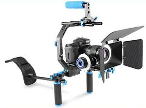 Neewer camera stabilizer and rotolight and microphone
