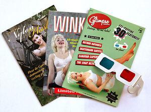3-Retro-Pinup-Mens-Magazines-Vintage-Interest-3D