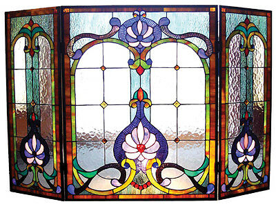 VICTORIAN STAINED GLASS FIREPLACE SCREEN * Art Deco