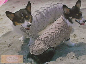 Vintage Dog Coat Knitting Pattern. Adorable Aran For A Huggable Hound ! 5 Sizes.