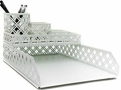 Blu Monaco 5 Piece White Interlocking Desk Organizer Set